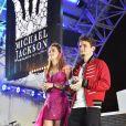 Paris et Prince Jackson portant les sneakers Giuseppe Zanotti imaginées en hommage à Michael Jackson. A Las Vegas le 29 août 2018.