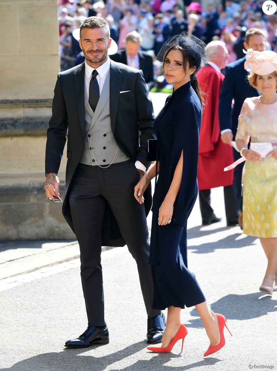 David et Victoria Beckham assistent au mariage du prince William et de Meghan Markle à la chapelle St. George au château de Windsor. Le 19 mai 2018.