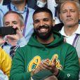 Drake lors du championnat de Wimbledon à Londres, le 10 juillet 2018.