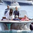 Flavio Briatore et son épouse Elisabetta Gregoraci, à Portofino avec leur ami Emilio Fede.