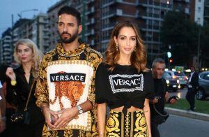 Nabilla Benattia et Thomas Vergara au défilé Versace, avec Bella et Gigi Hadid