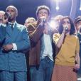 """La troupe des Enfoirés à l'occasion du spectacle """"Musique !"""" donné à Strasbourg en janvier 2018."""