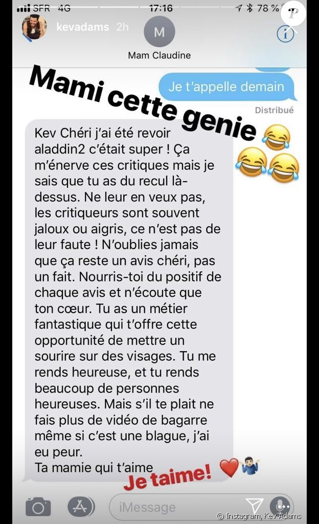 Capture de la story de Kev Adams le 10 octobre 2018.