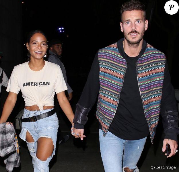 Christina Milian et son compagnon Matt Pokora (M. Pokora) à leur arrivée au concert de Drake et Migos à Los Angeles. Le 14 octobre 2018.