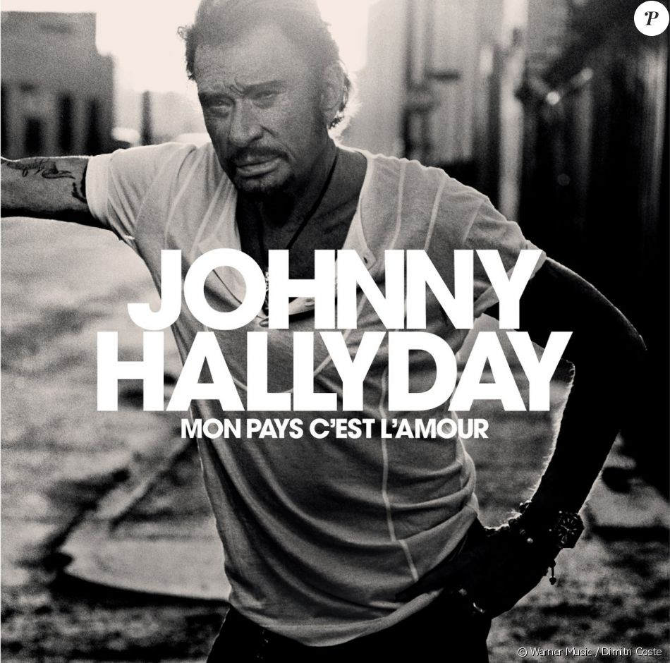 """Pochette de l'album posthume de Johnny Hallyday, """"Mon pays c'est l'amour"""", sortie prévue le 19 octobre 2018."""
