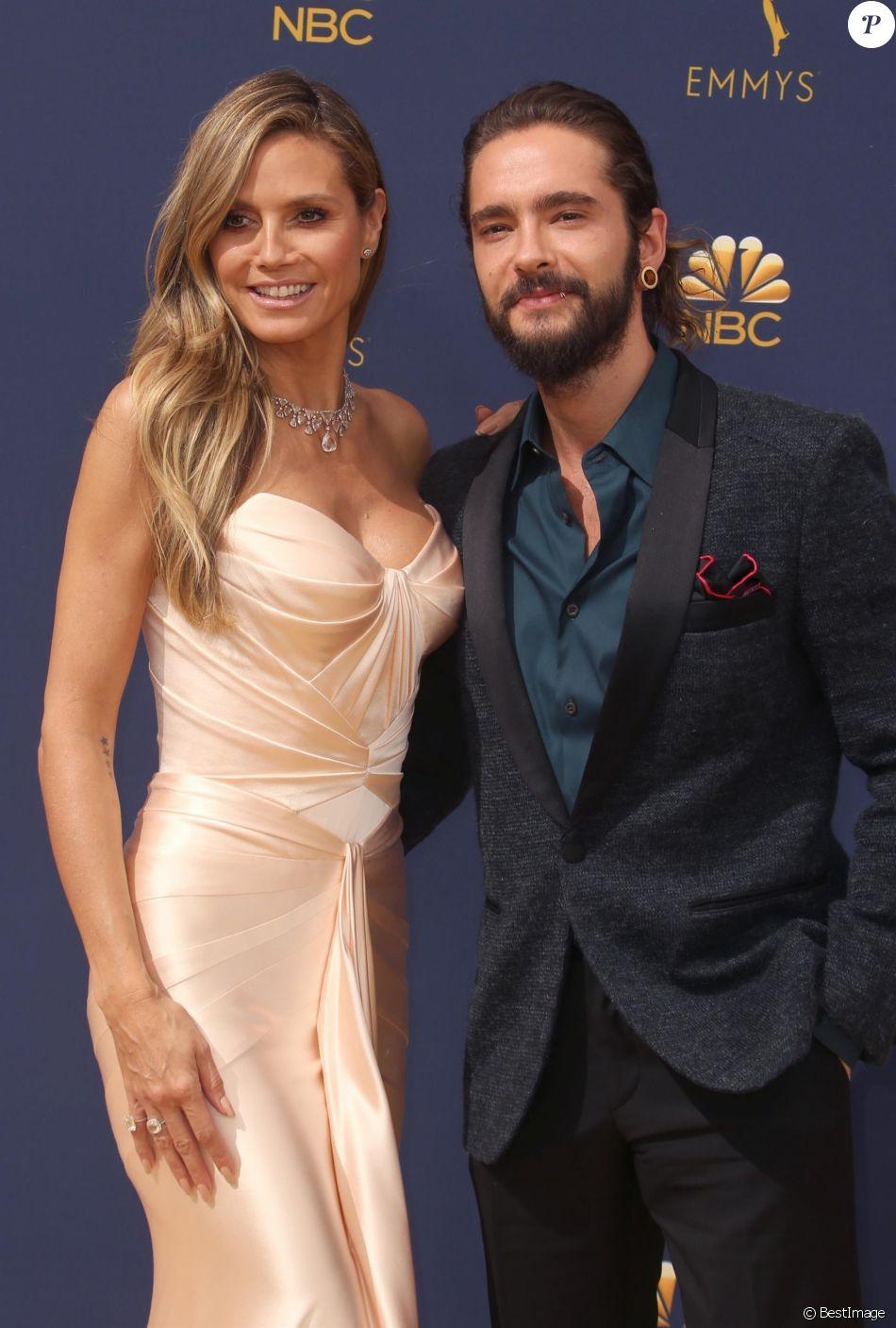 Heidi Klum et son compagnon Tom Kaulitz au 70ème Primetime Emmy Awards au théâtre Microsoft à Los Angeles, le 17 septembre 2018.