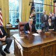 Donald Trump dans le Bureau Ovale à la Maison Blanche. Washington, D.C., le 17 octobre 2018.