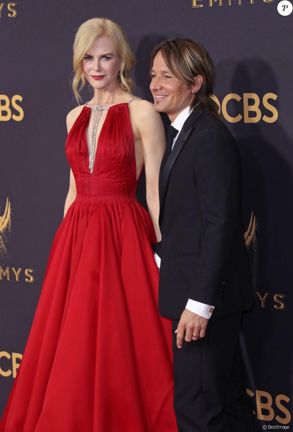 Nicole Kidman et son mari Keith Urban - 69ème cérémonie des Emmy Awards au Théâtre Microsoft à Los Angeles. Le 17 septembre 2017.
