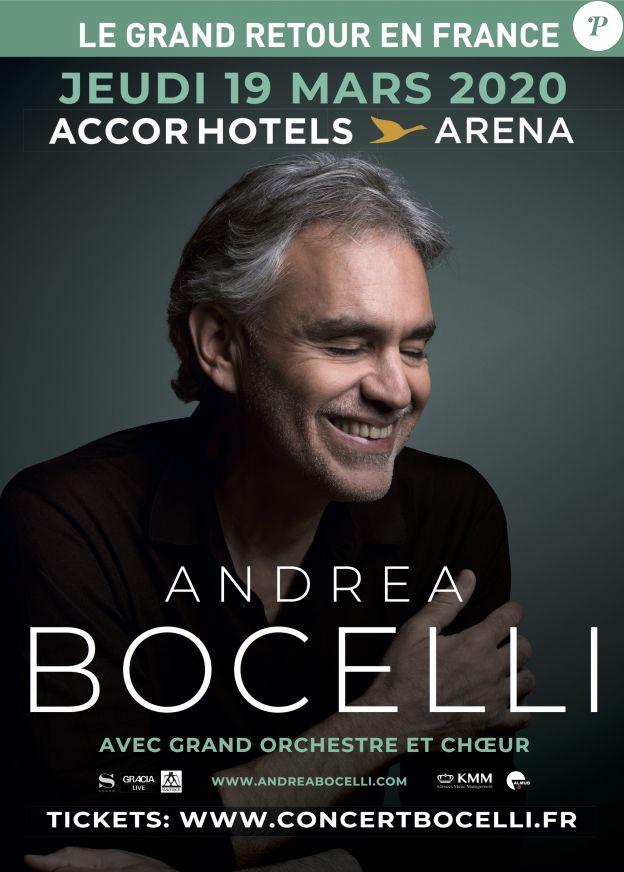 Andrea Bocelli sera sur la scène de l'AccorHotels Arena de Paris, le 19 mars 2020