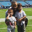 Tony Parker avec ses fils Josh et Liam en septembre 2018.