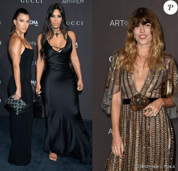 Kourtney, Kim Kardashian et Lou Doillon à la soirée LACMA Art + Film en l'honneur de Catherine Opie et Guillermo Del Toro présentée par Gucci à Los Angeles, le 3 novembre 2018