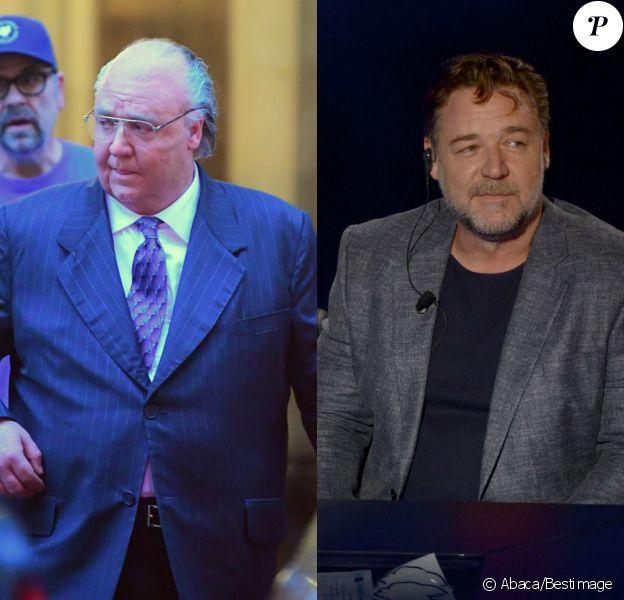 """Russell Crowe : à gauche sur le tournage de """"The Loudest Voice in the Room"""" en novembre 2018 et à droite en 2016."""