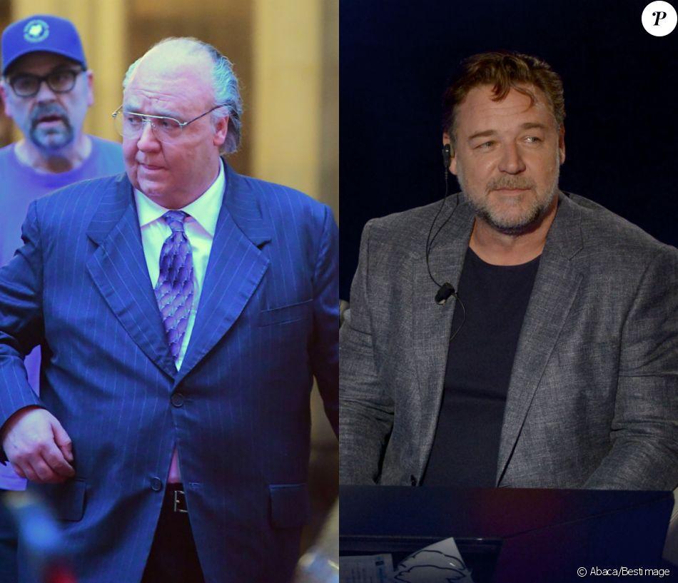 """Russell Crowe : à gauche sur le tournage de """"T he Loudest Voice in the Room"""" en novembre 2018 et à droite en 2016."""