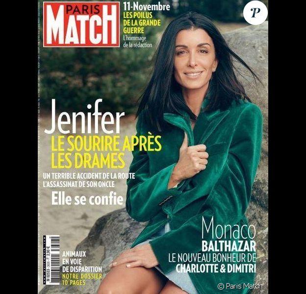 """Jenifer en couverture du magazine """"Paris Match"""", numéro du 8 novembre 2018."""