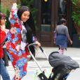 Angela Simmons promène son fils en poussette dans le quartier de Tribeca à New York, le 5 juin 2017