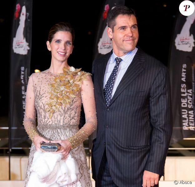 Le prince Louis de Bourbon (Luis Alfonso de Borbon) et sa femme la princesse Margarita le 9 février 2017 à l'opéra de Valence pour la première de La Traviata.