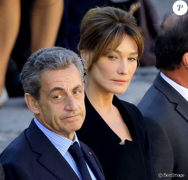Nicolas Sarkozy, Carla Bruni Sarkozy - Arrivées à l'hommage national à Charles Aznavour à l'Hôtel des Invalides à Paris. Le 5 octobre 2018 © Jacovides-Moreau / Bestimage