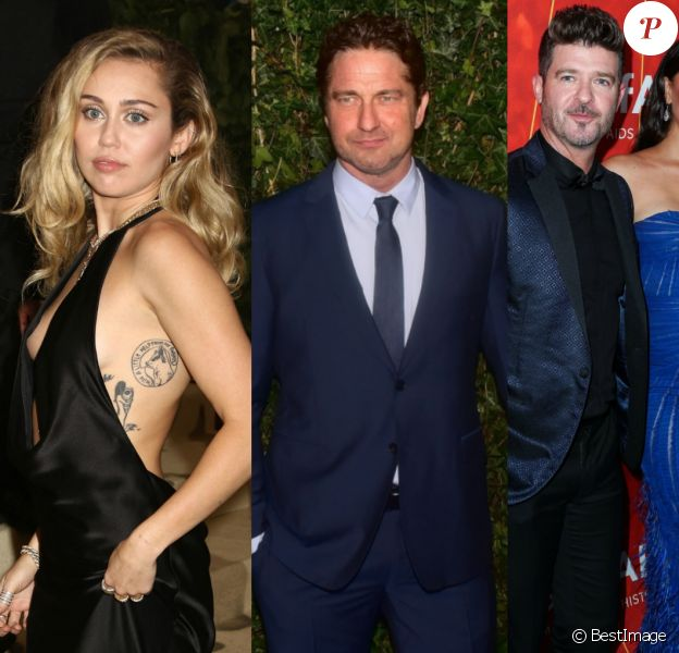Miley Cyrus, Gerard Butler, Robin Thicke et sa compagne April Love Geary.