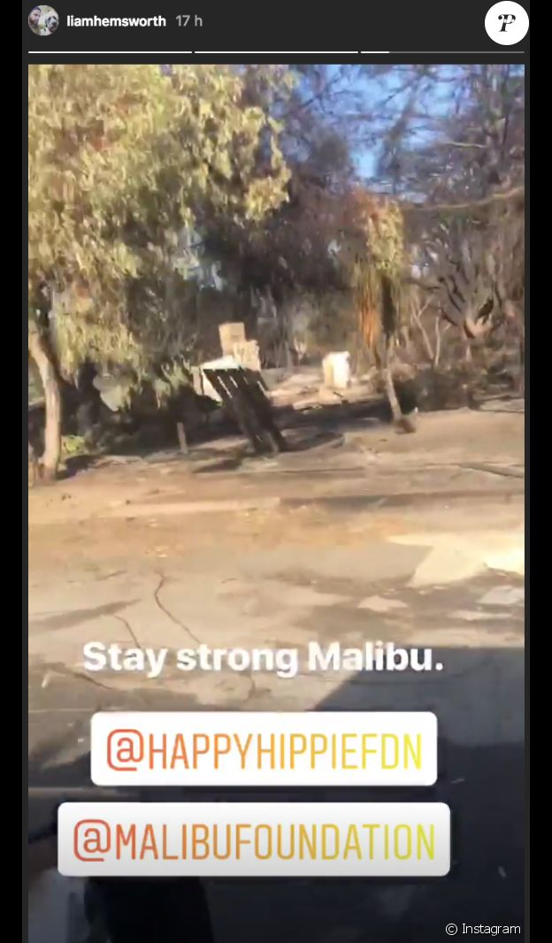 Liam Hemsworth lance un appel aux dons pour aider la population de Malibu en Californie suite aux incendies, le 13 novembre 2018