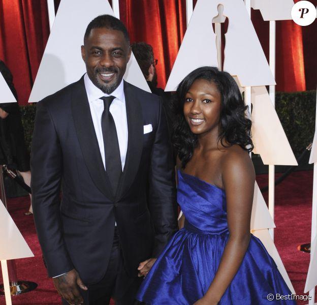 Idris Elba et sa fille Isan Elba à la 87ème cérémonie des Oscars à Hollywood, le 22 février 2015.