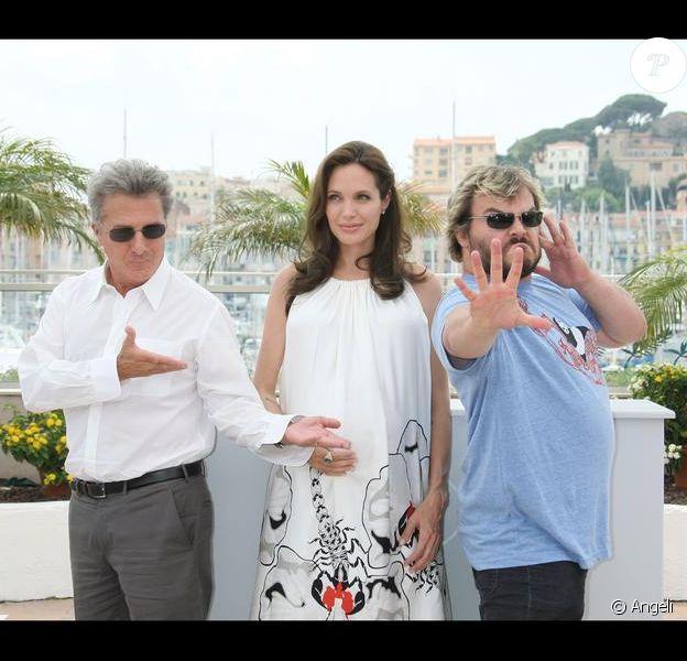 Les voix du film Kung Fu Panda, Jack Black, Angelina Jolie et Dustin Hoffman à Cannes en 2008