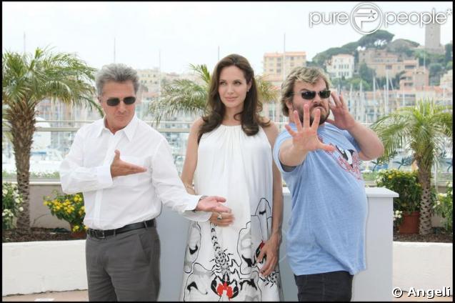 Les voix du film  Kung Fu Panda , Jack Black, Angelina Jolie et Dustin Hoffman à Cannes en 2008