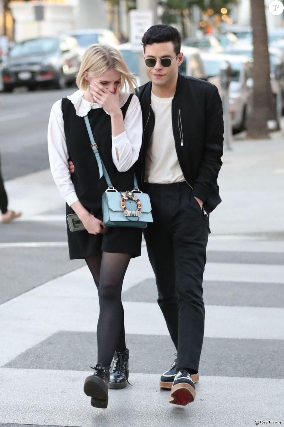 Exclusif - Rami Malek et sa compagne Lucy Boynton font du shopping sur Rodeo Drive à Beverly Hills, le 14 novembre 2018