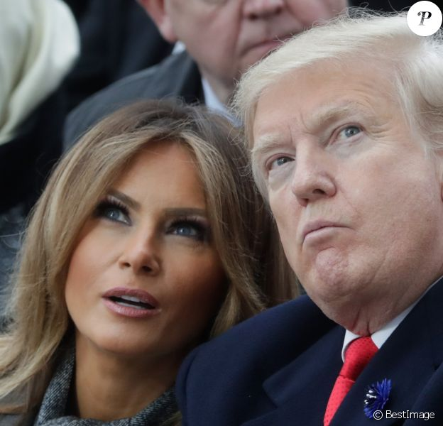 Le président des Etats-Unis Donald Trump et sa femme la Première Dame Melania Trump - Cérémonie internationale du centenaire de l'Armistice du 11 novembre 1918 à l'Arc de Triomphe à Paris, France, le 18 novembre 2018.