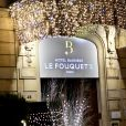 """Illustration lors de l'inauguration du chalet éphémère """"Les Neiges Courchevel"""" sur la terrasse de l'Hôtel Barrière Le Fouquet's à Paris, France, le26 novembre 2018. © Rachid Bellak/Bestimage"""