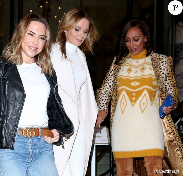Mel C (Melanie Chisholm), Geri Halliwell, Mel B (Melanie Brown) - Les Spice Girls quittent leur hôtel et se rendent sur les studios de la BBC Radio 2 à Londres le 7 novembre 2018.