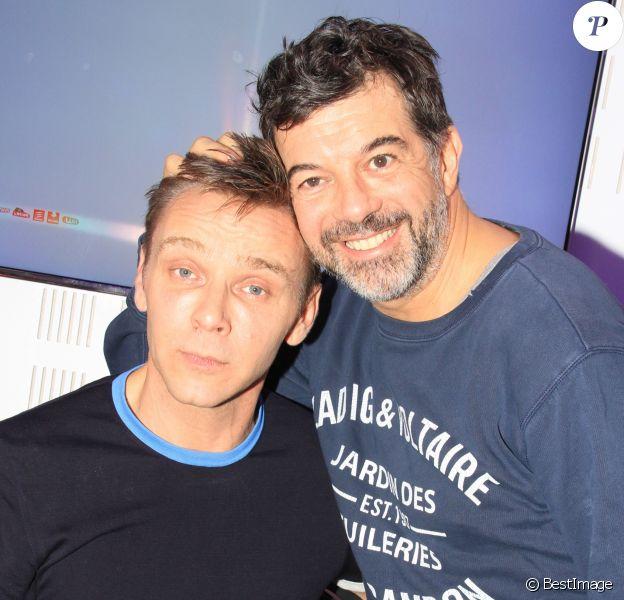 Exclusif - Jeanfi Janssens et Stéphane Plaza pendant le tournage d'un clip vidéo pour Instagram à Paris. Le 16 novembre 2018