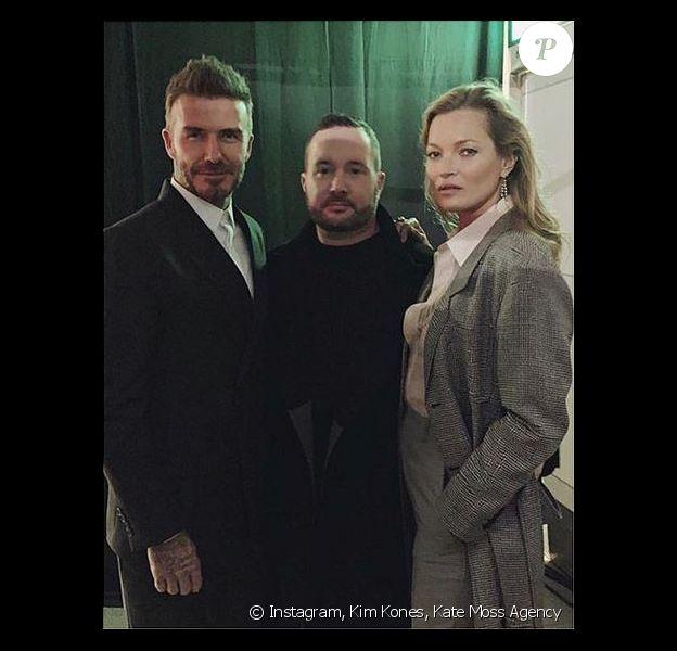 David Beckham, Kim Jones et Kate Moss assistent au défilé Dior Homme (pré-collection automne 2019) à Tokyo. Le 30 novembre 2018.