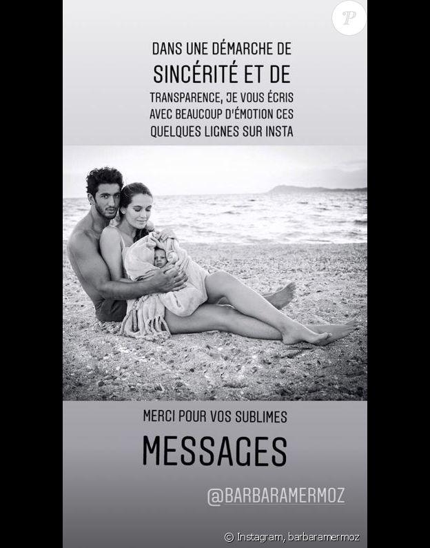 Barbara Morel annonce sa rupture avec Maxime Mermoz sur Instagram le 4 décembre 2018.