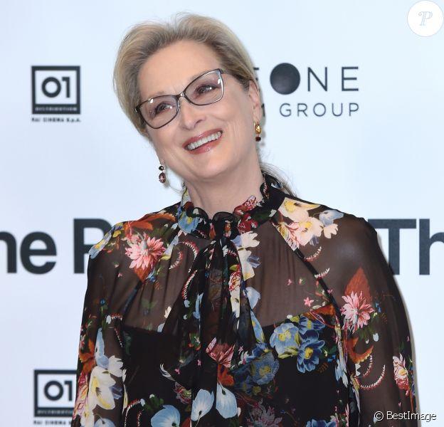 """Meryl Streep - L'équipe du film """"The Post"""" posent avant la conférence de presse à Milan le 15 janvier 2018."""