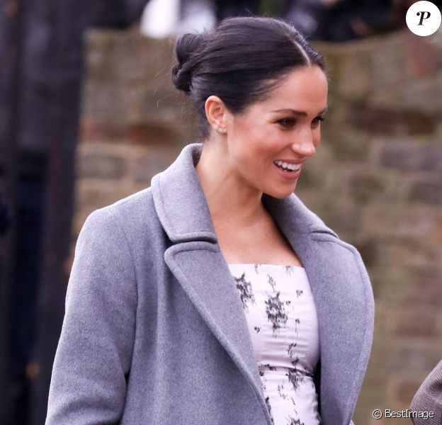 "Meghan Markle, duchesse de Sussex, visite le foyer Royal Variety de ""Brinsworth House"", à Twickenham, Royaume Uni, le 18 décembre 2018."