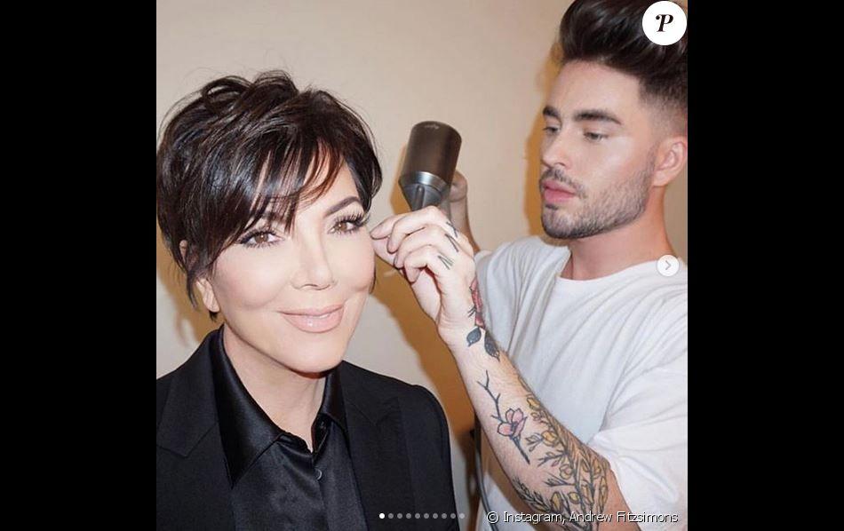 Kris Jenner et le coiffeur Andrew Fitzsimons. Novembre 2018.