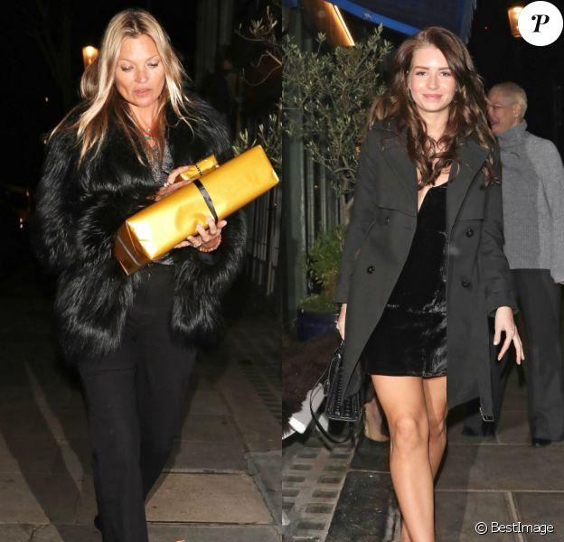 Kate Moss assiste à la soirée d'anniversaire de sa demi-soeur Lottie à Londres. Le 9 janvier 2019.