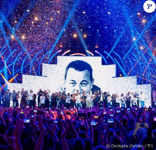 """La troupe des Enfoirés à l'occasion du spectacle """"Musique !"""" donné à Strasbourg en janvier 2018. Le show a été diffusé sur TF1 le 9 mars 2018"""