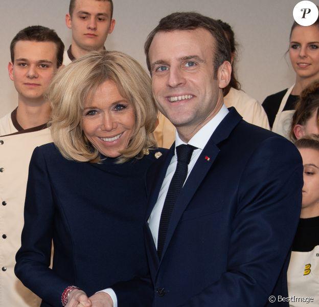 Le président Emmanuel Macron et sa femme Brigitte lors de la réception pour les maîtres boulangers et pâtissiers pour l'Epiphanie au palais de l'Elysée à Paris le 11 janvier 2019. © Pierre Villard / Pool / Bestimage