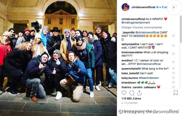 Chris Brown termine le tournage d'un nouveau clip à Paris, le 24 janvier 2019.
