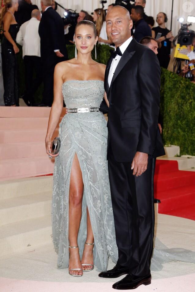 Hannah Davis et son fiancé Derek Jeter - Met Gala 2016 à New York, le 2 mai 2016. © Charles Guerin/Bestimage