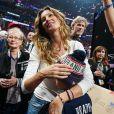 Tom Brady fête la victoire des New England Patriots au Super Bowl LIII avec son épouse Gisele Bündchen et leurs enfants Vivian, Benjamin et John. Atlanta, le 3 février 2019.
