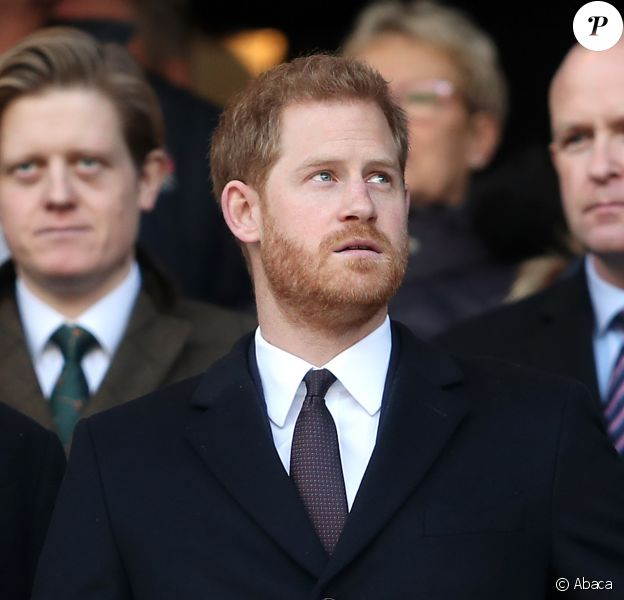 Le prince Harry, duc de Sussex, arrive au stade de Twickenham pour assister au match de rugby Angleterre France à l'occasion du tournoi de six nations à Londres le 10 février, 2019.