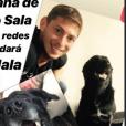 Emiliano Sala et sa chienne Nala, qui sera recueillie par sa famille suite à sa disparition, photo de la story Instagram de Romina Sala.