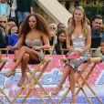 """Heidi Klum et sa fille Helene (Leni), Simon Cowell, Mel B sur le plateau de l'émission """"America's Got Talent"""" à Los Angeles le 18 mars 2018."""