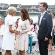 Le prince Joachim et la princesse Marie de Danemark lors de la visite d'Etat du président Emmanuel Macron et sa femme Brigitte, le 29 août 2018 à Copenhague sur le parvis du théâtre royal avant une réception. © Dominique Jacovides / Bestimage