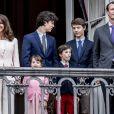 La princesse Marie et le prince Joachim de Danemark avec leurs enfants le prince Nikolai et le prince Felix (issus du premier mariage du prince Joachim) et la princesse Athena et le prince Henrik le 16 avril 2018 au balcon du palais royal d'Amalienborg à Copenhague pour le 78e anniversaire de la reine Margrethe II.