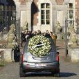 Image des obsèques de la princesse Alix de Ligne (née princesse de Luxembourg) le 16 février 2019 à Beloeil, en Belgique. Le corbillard arrive au château de Beloeil, qui fut la résidence de la défunte.