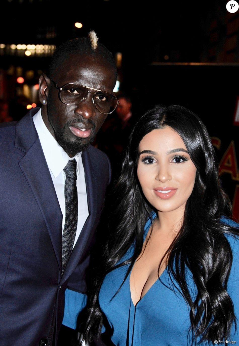 Mamadou Sakho et sa femme Majda arrivent à la première de Captain Marvel à Londres le 27 février 2019
