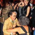 "Kenzo Takada et Ceyla Lacerda pendant la soirée ""Kenzo Takada's Birthday Night"" pour fêter les 80 ans de Kenzo Takada au Pavillon Ledoyen à Paris, France, le 28 février 2019. © Philippe Baldini/Bestimage"